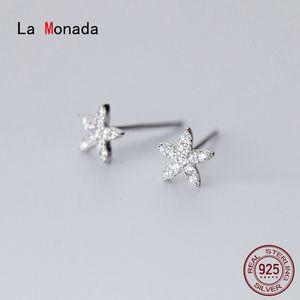 La Monada Flower Star Earings Studs 925 Sterling Silver Fine Jewelry Minimalist Stud Earrings For Women Silver 925 Korean