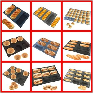 SHENHONG Various Shapes Perforated Bread Mold Silicone Glass Fiber Mould Non Stick Tart Tray Baguette Loaf Baking Perfored Pan Y200612