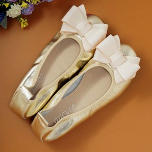 Big Yards 34-43 sapatas lisas Gestantes 2020 couro genuíno Bow única flor Shoes Shallow Boca Gold Silver Moda Ballet