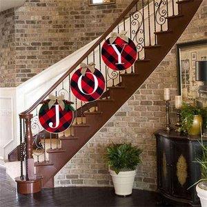 34CM 2020 da grinalda do Natal Vermelho e preto da grade letras impressas Moda Árvore de Natal Escadas porta janela decorações do partido Acessórios F91202
