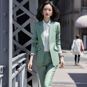 Green Blazer and Pant Suit Set Work Business Formal Pant Suit Fashion S-4XL 2 Piece Set For Office Lady Career Wear