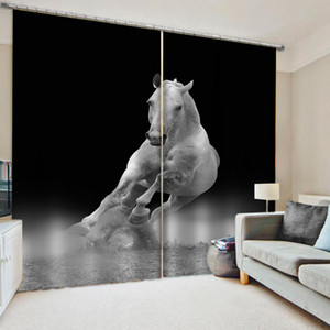 Luxury Blackout 3D Window Curtains For Living Room Bedroom grey horse curtains soundproof windproof curtains