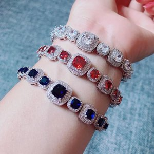 Luxurious Zircon Elements square Austrian Crystal Bracelet white gold-color for women top quality wedding jewelry S0492