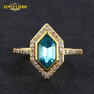 Jewepisode Gold Color Topaz Zircon Rings for Women Real 925 Sterling Silver Wedding Engagement Fine Jewelry Ring Drop Shipping