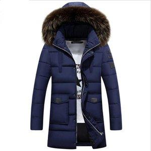 M-3XL Kış Erkekler Down Pamuk Ceket Kış Coat Moda Kürk Yaka Katı Uzun Parka Erkek Artı boyutu eskitmek 2020 Yeni