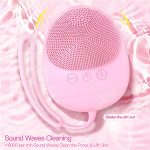 Electric Silicone Facial Cleaner Brush Ultrasonic Deep Cleansing Blackhead Removal Rechargeable Silicone Face Massager Machine