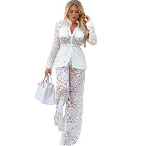 Mulheres Sexy White Lace Two Piece Set Sheer Botão oco Out Manga Longa Up Shirts Top e largo Suits perna da calça Night Club Outfits T200808