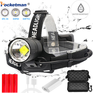 Mais Poderoso XHP70.2 USB cabeça LED Headlight farol XHP70 Head Lamp Poder tocha luz melhor para camping, pesca
