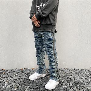 Retro acanalada cremallera lateral Jeans rectos lavado cadera Streetwear Denim Pantalón elástico Wasit Hop pantalones vaqueros para hombre
