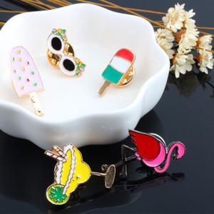 5pcs set Summer Cartoon Brooch Flamingo Cream Sunglasses Girls Enamel Pin Simple Metal Badges Buckle Pins Jewelry for Women