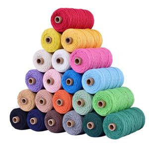 110yards suministro 3mm 100% cordón de algodón del cordón de colores beige cuerda torcida Craft Macrame cadena de bricolaje Home Textile decorativa de la boda