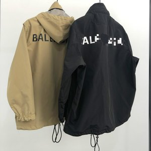 Les hommes d'hiver d'automne 20SS sweat à capuche marque lettres coupe-vent de sport impression numérique en plein air vestes fonction coupe-vent imperméable à l'eau