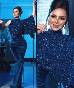 2020 Arabic Dubai High Neck Navy Blue Glitter Sequins Sheath Prom Dresses Sexy Side Split Women Evening Dress Party Gowns Abendkleider