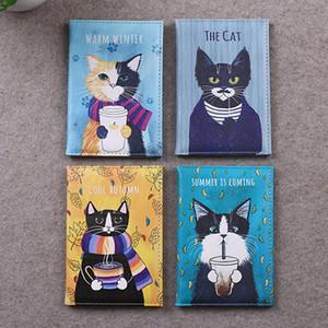 Cartoon Animal Cat Passport Cover Travel Women Men Pass Port Credit Card Holder Case PU Leather Business Card Pass Card Wallet