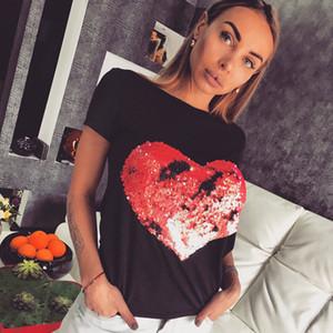 Fashion New 2018 Summer Cotton Women 3D Digital Red Heart Sequins T-shirt For Women White Short Sleeve T Shirt FS3418 47IN