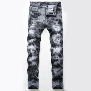 Mens Stretch Slim Fit Jeans Fashion Tie Dye Straight Biker Denim Pants Big Size Motocycle Hip Hop Trousers For Male JB534