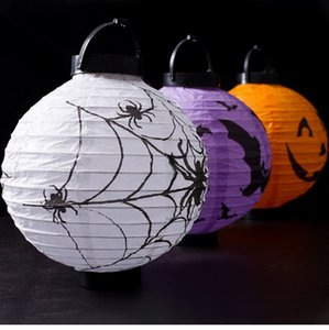 2pcs 20cm LED Light Pumpkin Spider Hanging Lantern Halloween Decor Gift Portable Paper Lampion Hanging Ball Home Party Supplies