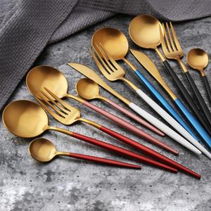 4Pcs set Black Gold Cutlery Set Stainless Steel Dinnerware Silverware White Red Pink Tableware Set Knife Fork Spoon Flatware Kits BC BH4099