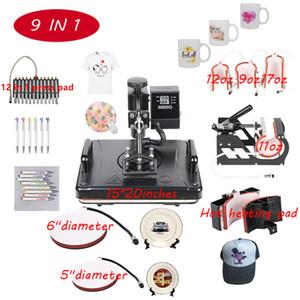 9 in 1 Hitze-Presse-Maschine für Platte / Becher / Cap / TShirt Etc, Stift Press Drucker, Multifunktio Sublimation / Wärmeübertragung-Maschine