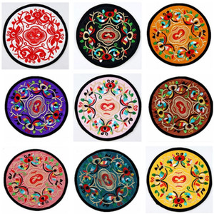 Coaster about 13cm diameter Chinese ethnic style embroidered coaster souvenir small gift special coaster in 18 colors