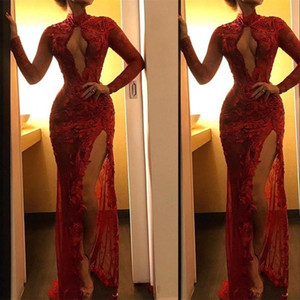 New Sexy Dark Red Prom Dresses High Neck Keyhole Lace Appliques Flowers Mermaid Long Sleeves Evening Dress Wear Split Formal Party Gowns