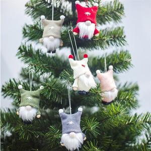 Christmas Hanging Faceless Doll Xmas Tree Hanging Plush Knititng Doll with Beard New Year Xmas Decor DHA926
