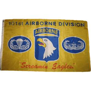 Giallo 101st Airborne Division Screamin Eagles Bandiera, 100% poliestere tessuto, Singolo Stampa Digitale laterale, spedizione gratuita