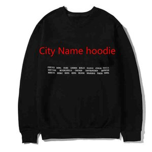 Tasarım Harf O-Boyun Homme Giyim 2 Renk ile Erkekler Kadınlar Sokak Uzun Kollu Kazak Sweatshirt için klasik Şehir Adı Hoodie
