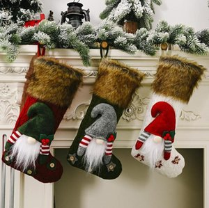 2021 New Christmas Stockings Classic Faux Fur Cuff Hanging Stockings 3D Gift Bag Holders for Home Decor