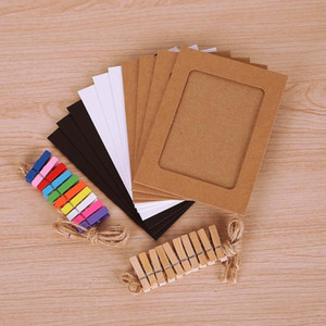 10Pcs DIY Paper Photo Frame Wall Hanging with Clips Picture Photo Frame Rope Clip Party Wedding Home Decor