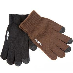 Fingerless Gloves Knitted Women Men Thicken Winter Warm Glove Touch Screen Male Wool Cashmere Men Mitten Unisex