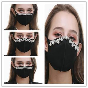 Máscara de Elegent perla diamante diamantes de imitación de la cara diseñadores de moda Mujeres Máscaras reutilizables mascarilla Balck cubrir la boca de la fiesta ChristmasLY9231