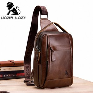 Male Genuine Leather Fashion Chest Bags Anti Theft Oil Wax Handbag Crossbody Shoulder Man Business Travel Messenger Blosos Gift Gef7#