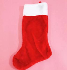 Kırmızı Kısa Peluş Noel Çorap Noel Süsleri Çorap Çocuk Şeker Hediye Çanta Tatil Partisi Noel ağacı Süsler GGA3732-2 Asma