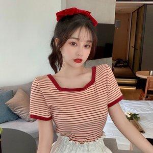 FqkYp clavicola nuovo dimagrante a strisce T-shirt collare quadrato estate 2020 a maniche corte T-shirt Top Girls'