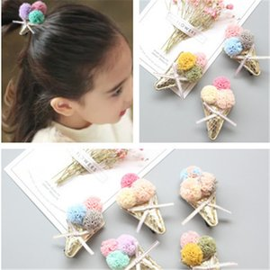 Handmade Toddlers Ice Cream Hair Clips Kids Baby Girls Safe Hair Accessories Headdress Bow Flower Ice Cream Bow Barrette