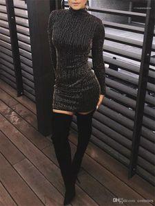 الملابس مثير للمرأة فساتين عادية أزياء لامعة الترتر زيبر نصب منصة إمرأة مصمم فساتين الهيئة غير الرسمية الإناث عارضة