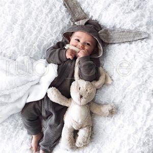 Neonati Pagliaccetti Pagliaccetti Coniglio Orecchie Bambini Onesies Abbigliamento Zipper con cappuccio Bambino Bambino Pagliaccetto Bodysuit Bidesuit Bag da letto RRA3572