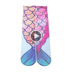 Nuove calze 3D di stampa delle donne delle ragazze della sirena Calzini sirena un americano Hot spiaggia calzini libero del DHL di spedizione disponibile