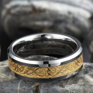 Somen Anello Uomini reale Tungsteno Anello 8 millimetri oro celtica drago intarsio lucido anelli di fidanzamento Wedding Band Fashion Party Men Jewelry