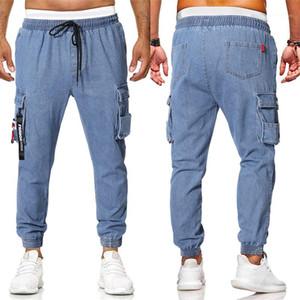Moda Casual Hombres Ropa para hombre con paneles de pantalones vaqueros de diseño de Europa y América para hombre flojo del lazo del bolsillo decoración diseño casual Jeans