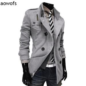 Fashion 2020 Aowofs double-breasted winter clothing design woolen Blends dust coat Trech wool jacket gentleman windbreaker