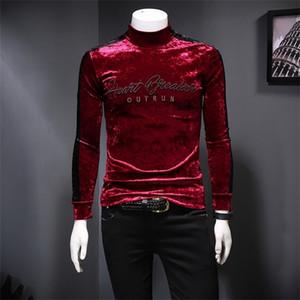 Luxury Turtleneck Embroidery Velvet Men T Shirt Club Outfit Velvet T Shirt Vintage Men Slim Fit Long Sleeve T Shirt Homme 0924