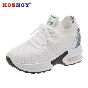 Koznoy Platformu Ayakkabı Moda Kadınlar Hava Sneakers Nefes Spor Ayakkabıları Kadın Çorap Sneakers Mesh Artış Bayanlar