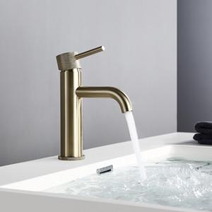 Bagnolux Водосбережение Матовый Золотой ванной кран на одно отверстие горячей и холодной воды круглый Spray отверстие Brass Ванная комната смеситель