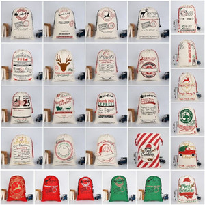 33 Style Christmas gift drawstring bag cotton cloth Bundle pocket printed Canvas Xmas Drawstring bag Children's Xmas gift bag T9I00575
