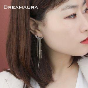 stile Tc6sY Qimeng Ola coreana Chic personalità orecchini asimmetrici nappa uno lungo e uno corto freddo celebrità argento in linea orecchino o