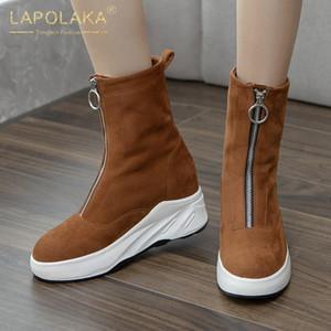 Lapolaka 2020 neue Art und Weise hinzufügen Pelz warme Winterstiefel Frauen-Schuhe oben Plattform Zip Bequeme Flock Schnee-Stiefel Weiblich