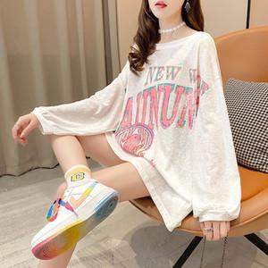 Hoodie büyük boy baskı Cep Tişörtü Kapşonlu Harajuku Bahar Casual Vintage Kore Bts Kazaklar Kadınlar sweetshirts 0916 2020 za