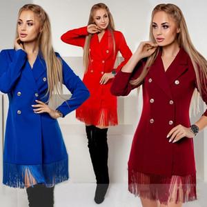 Женская Дизайнерская Повседневная Bodycon рубашка платья кисточкой Double Breasted Slim Fit Blazer платье Твердая осени сексуальные женщины пальто макси платье
